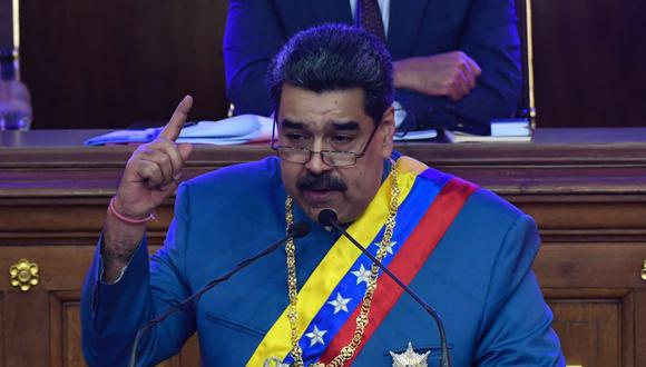 El presidente venezolano Nicolás Maduro hace un gesto mientras presenta el informe anual de su gobierno ante la Asamblea Nacional en Caracas. (Foto: Federico Parra / AFP)
