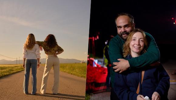 (Izquierda) Paula Usero y Carol Rovira en el último día de rodaje de la cuarta temporada. (Derecha) Borja Glez. Santaolalla y Diana Rojo frente al lente de Manuel Fiestas.
