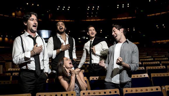 El tenor lírico Juan Antonio de Dompablo, Jorge Pardo, Aldo Rodríguez y Marcos Golergant rodean a la productora Mabela Martínez, creadora de un show inspirado en Pavarotti and Friends. (Foto: Karen Zárate)