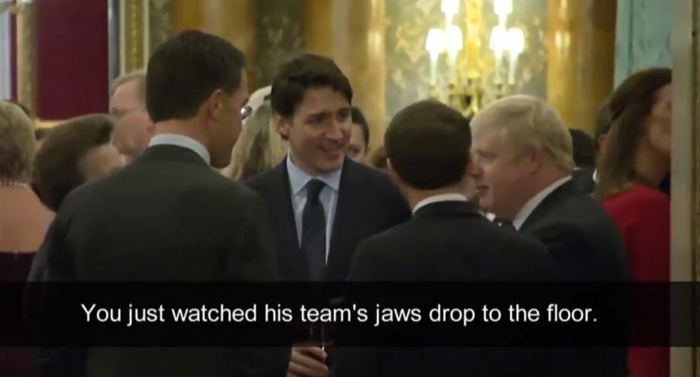 """Entro otras cosas, en las imágenes se puede escuchar al primer ministro británico, Boris Johnson, preguntando al presidente francés, Emmanuel Macron: """"¿Es por eso que llegaste tarde?"""". (Captura de pantalla / CBC Canada)"""