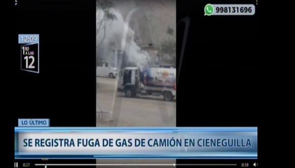 Reportan fuga de gas en Cieneguilla. (Foto captura: Canal N)