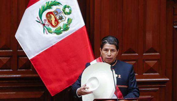 Pedro Castillo se dirigió al Congreso de la República esta tarde. (Foto: Congreso)
