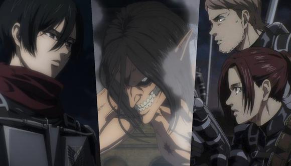 "De izquierda a derecha, Mikasa Ackerman, Eren Jaeger,  Jean Kirstein y Sasha Blouse en ""Attack on Titan"" 4x06. Foto: Crunchyroll/ Mappa."