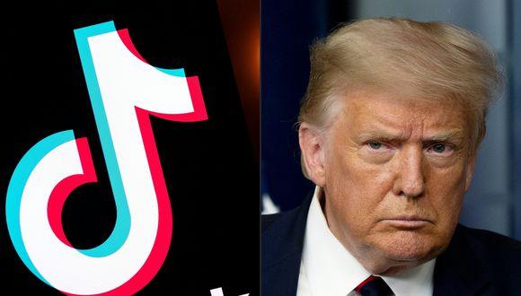 Después de semanas de rumores y presiones, el presidente Donald Trump anunció el viernes que iba a prohibir la actividad de TikTok en Estados Unidos. (Fotos: Lionel BONAVENTURE y JIM WATSON / AFP).