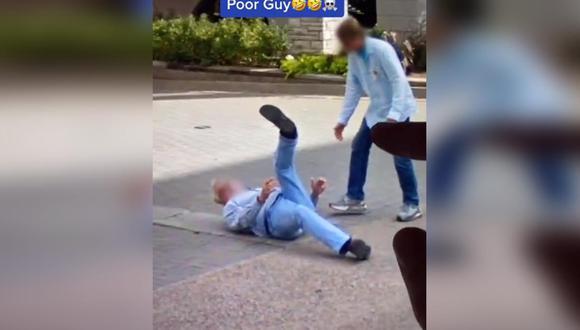 La aplicación registró el preciso momento en que el hombre cayó aparatosamente al suelo. | Foto: Google Maps