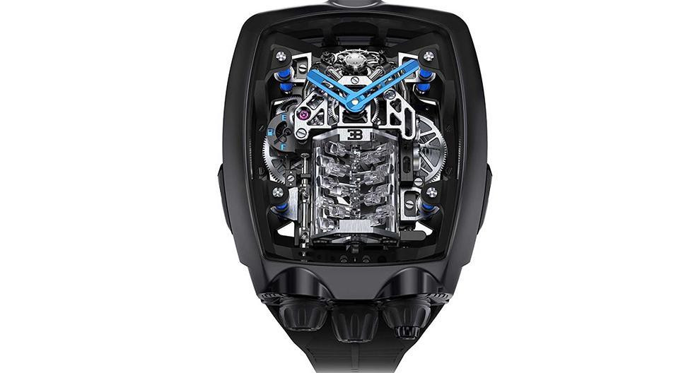 El Jacob & Co. Bugatti Chiron Tourbillon cuenta con una réplica de motor W16 que monta el superdeportivo, así como diversos detalles de su apartado estético. (Fotos: Jacob & Co.).