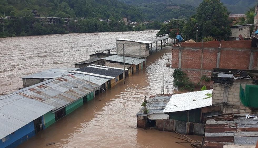 Al menos 300 viviendas terminaron inundadas luego que el río Perené, en la provincia de Chanchamayo (Junín). (Foto: Cortesía)
