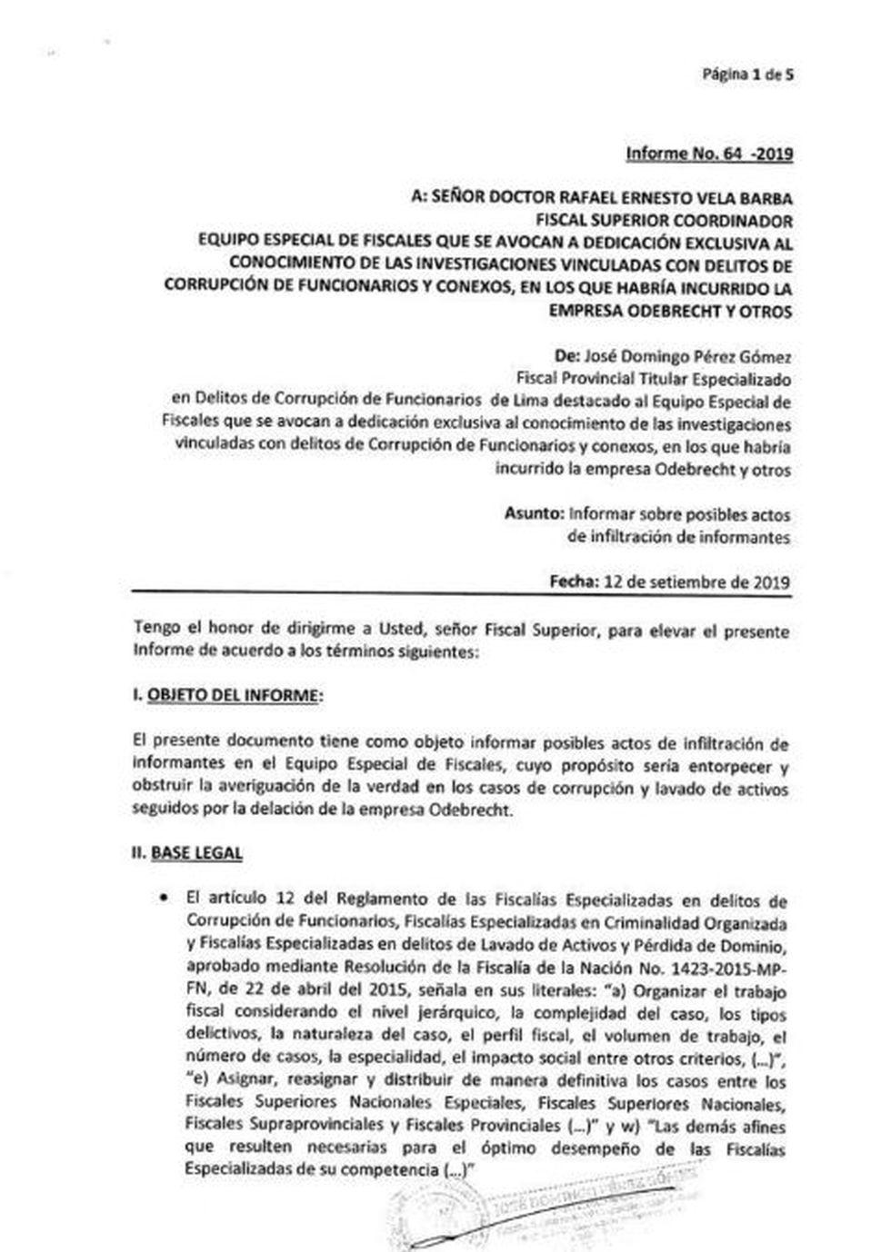 Documento que Pérez envió a Rafael Vela