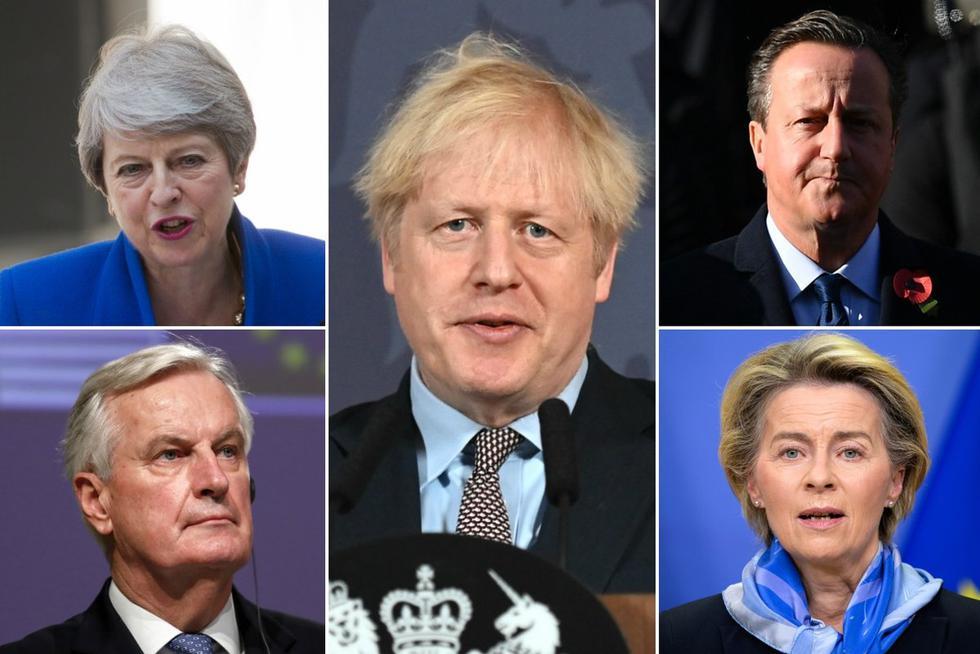 Cada uno a su manera, estos son los principales personajes que han influido en el curso de la historia del Brexit desde el referéndum de 2016. En la imagen: Theresa May, Michel Barnier, Boris Johnson, David Cameron y Ursula von der Leyen. (Foto: AFP).