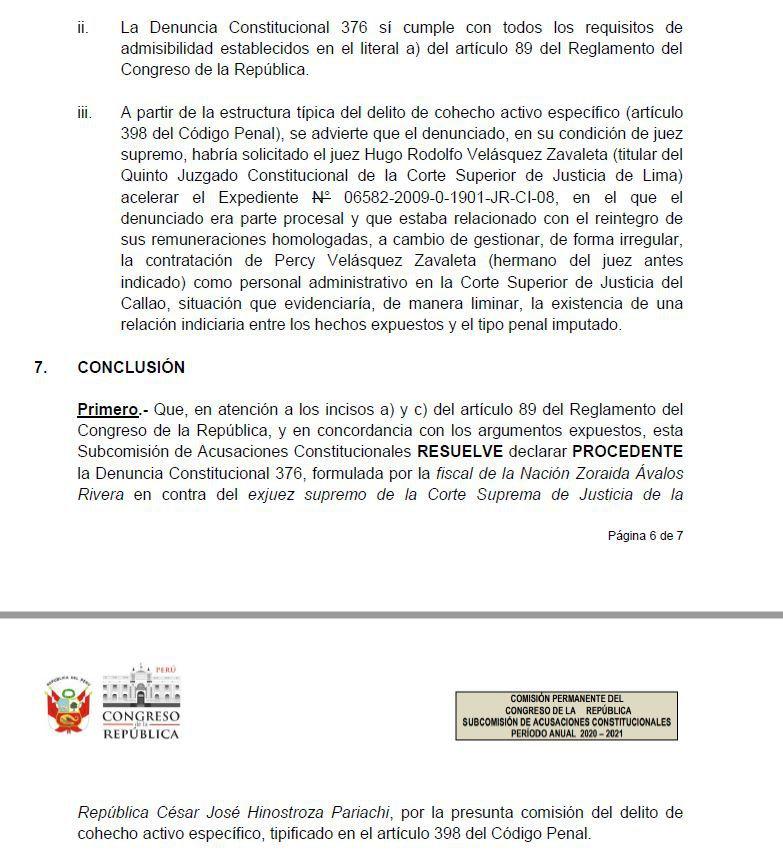 Informe de la Secretaría Técnica de la Subcomisión de Acusaciones Constitucionales