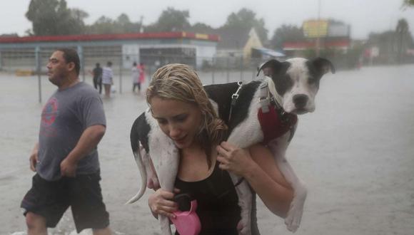 Naomi Coto busca un lugar seguro con su perro Simba a cuestas tras evacuar su vivienda en Texas.