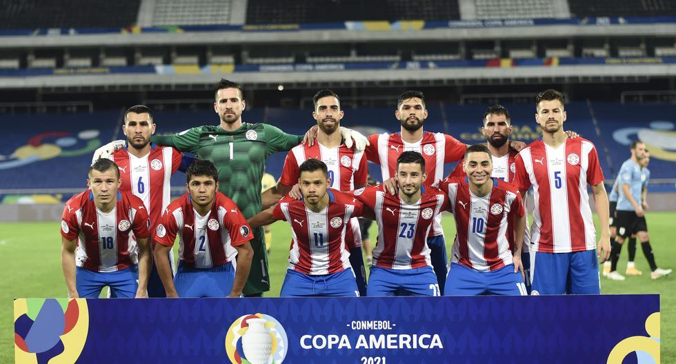 La selección paraguaya que enfrentó a Uruguay en la última fecha de la fase de Grupos de la Copa América. (Photo by MAURO PIMENTEL / AFP)