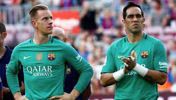 Marc André Ter Stegen y Claudio Bravo coincidieron como porteros en el Barcelona. (Foto: Agencias)