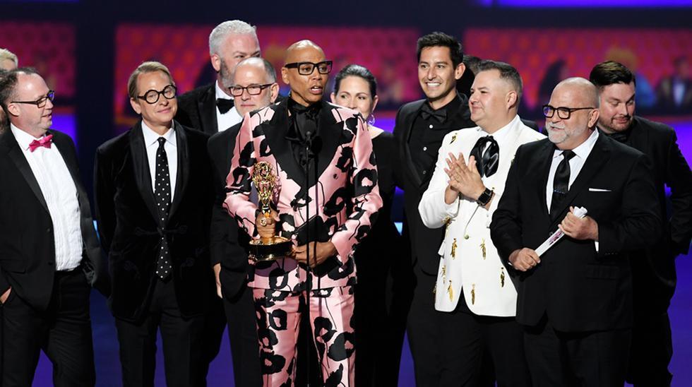 RuPaul celebrando el Emmy 2019 a su reality de competencias. (Foto: AFP)