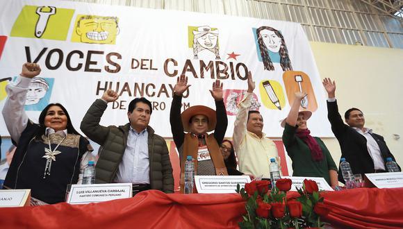 En el encuentro estuvieron Aída García-Naranjo, Luis Villanueva, Gregorio Santos, Zenón Cueva, Verónika Mendoza y Vladimir Cerrón. (Foto: Lino Chipana / Enviado Especial)