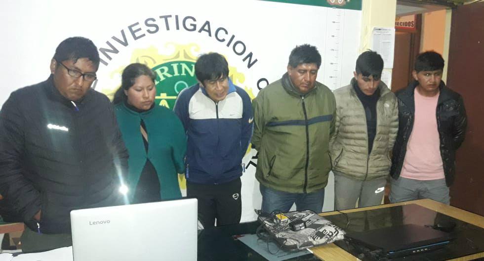 Detienen a cinco sujetos y una mujer integrantes de una banda de 'marcas' en la ciudad de Juliaca en Puno. (Foto: PNP)