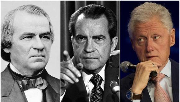 De izquierda a derecha: Bill Clinton, Richard Nixon y Andrew Johnson, tres presidentes sobre lo que se cernió la sombra del impeachment antes de Trump. (AP/Wikimedia Commons)
