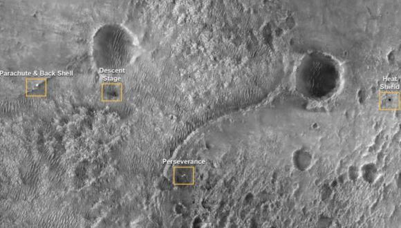 Cada una de las partes que participaron en el aterrizaje del Perseverance quedaron separadas aproximadamente 200 metros luego de que el rover se precipitara en Marte. (NASA / JPL / Europa Press)