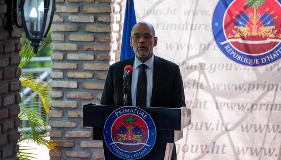 El primer ministro de Haití, Ariel Henry, habla en el acto de firma de un acuerdo político con los principales partidos de la oposición el 11 de setiembre del 2021. (EFE/ Maxime Giordani).