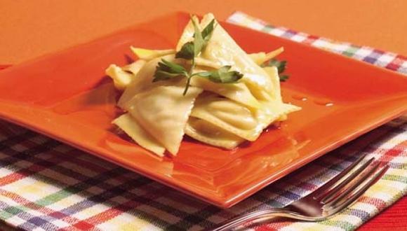 Pansotti relleno de espinaca y acelga