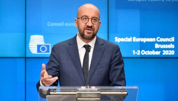 El presidente del Consejo Europeo, Charles Michel, habla en una conferencia de prensa durante la segunda cumbre cara a cara de la Unión Europea desde el brote del coronavirus (Covid-19), en Bruselas. (Foto: AFP / POOL / JOHANNA GERON).
