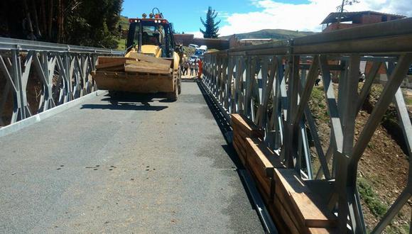 Provías Nacional gestionó ante el Ministerio de Transportes y Comunicaciones (MTC) la instalación de un puente de estructura metálica de 30 metros de longitud. (Foto: cortesía)