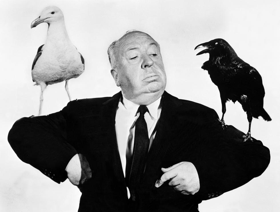 """Alfred Hitchcock en una foto tomada en 1963 during la presentación de of his la cinta """"The Birds""""."""