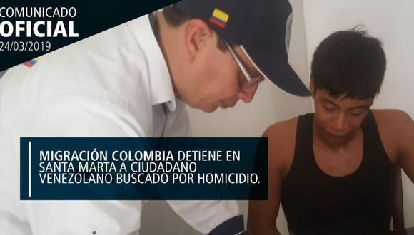 Camacho Terán, de 22 años, era buscado en su país mediante una circular roja de Interpol por la tortura y el homicidio de un docente. (Twitter Migración Colombia - @MigracionCol)