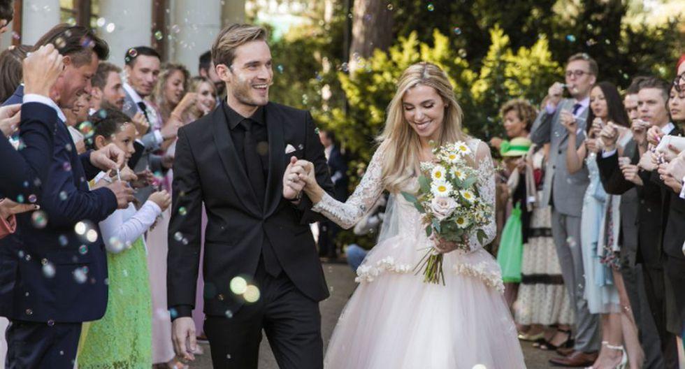 Marzia Bisognin publicó las fotos de su boda con el youtuber PewDiePie. (Foto: Twitter PewDiePie)