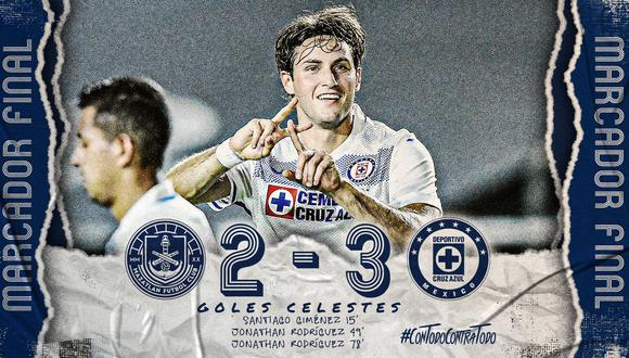 Cruz Azul llegó a 25 puntos para ubicarse como líder del torneo. (Foto: Twitter Cruz Azul)