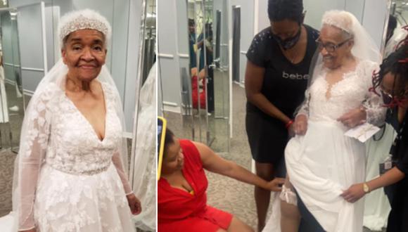Una abuela de 94 años ha conmovido en Internet luego de conocerse que usó un vestido de novia por primera vez. (Foto: Erica Tucker / Facebook)
