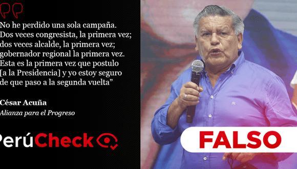 PerúCheck. La afirmación del líder de Alianza Para el Progreso (APP) fue sometida a fact checking.