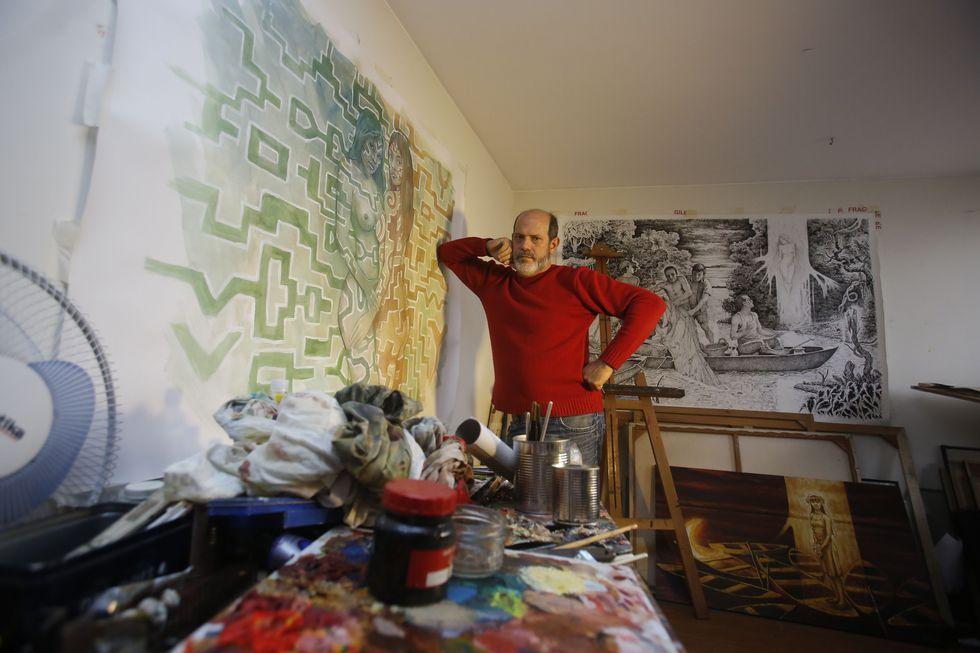 Ceccarelli, el artista en su taller. (Foto: Hugo Pérez)