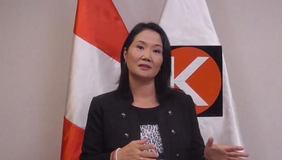 """""""Hago votos para que esta, nuestra fiesta nacional, sea también un espacio que nos permita reflexionar y ratificar el firme compromiso con nuestra patria"""", dijo Keiko Fujimori. (Captura: Difusión)"""