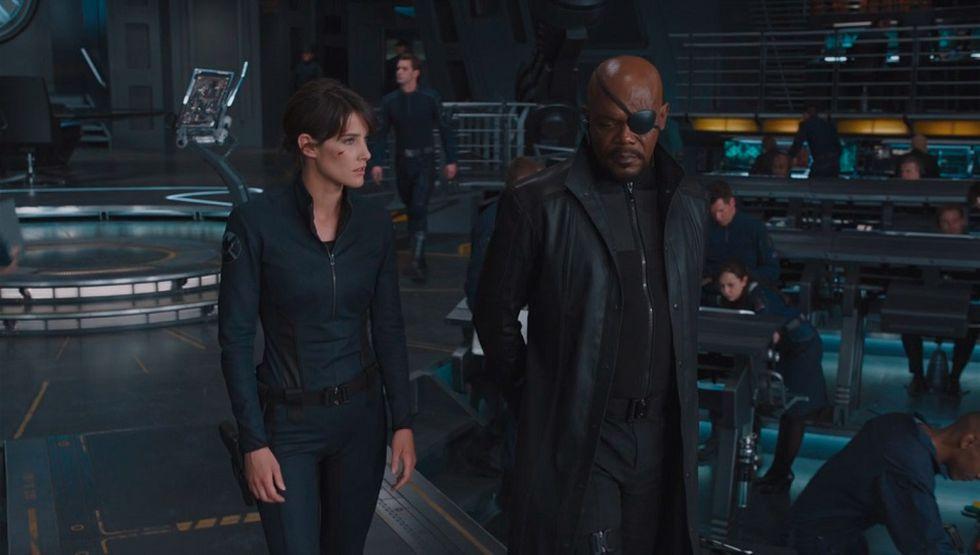 "Samuel L. Jackson interpreta a Nick Fury y Cobie Smulders, a Maria Hill en ""Spider-Man: Far From Home"" (Foto: Sony Pictures)"
