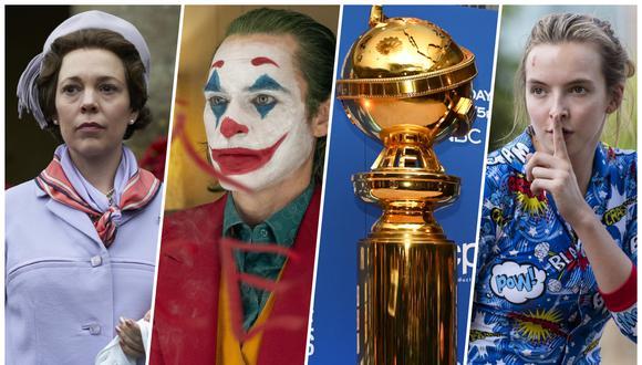 """Globos de oro 2020. De izquierda a derecha, actores de las nominadas """"The Crown"""", """"Joker"""" y """"Killing Eve"""". Golden Globes. Fotos: Difusión/ AFP."""
