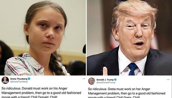 Greta Thunberg tiene su pequeña venganza en Twitter contra Donald Trump. (Fotos: AFP / Composición: El Comercio)