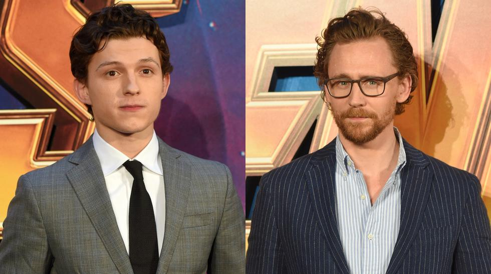 """Avengers: Infinity War"". De izquierda a derecha, Tom Holland (Spiderman) y Tom Hiddleston (Loki). (Fotos: AFP)"