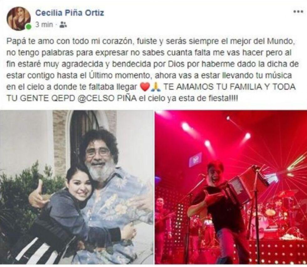 Cecilia Piña Ortiz, hija del intérprete mexicano, se pronunció a través de sus redes sociales con un emotivo mensaje de despedida a su padre. (Foto: captura Facebook).