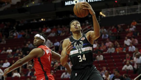 Milwaukee Bucks derrotó a Houston Rockets con deslumbrante actuación del griego Giannis Antetokounmpo. (Foto: Twitter)