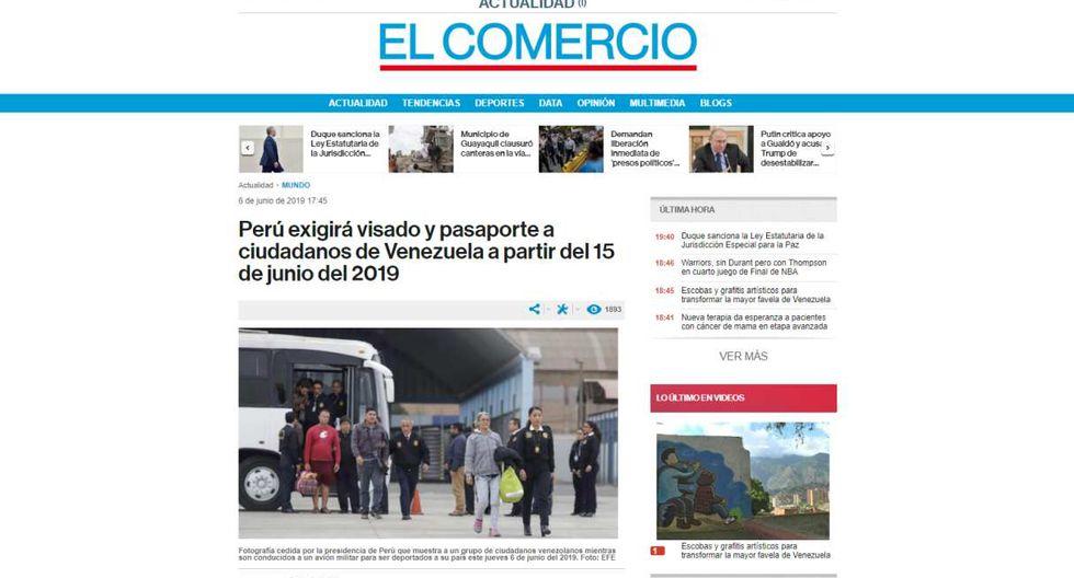 """""""El Comercio"""" de Ecuador titula: """"Perú exigirá visado y pasaporte a ciudadanos de Venezuela a partir del 15 de junio del 2019""""."""