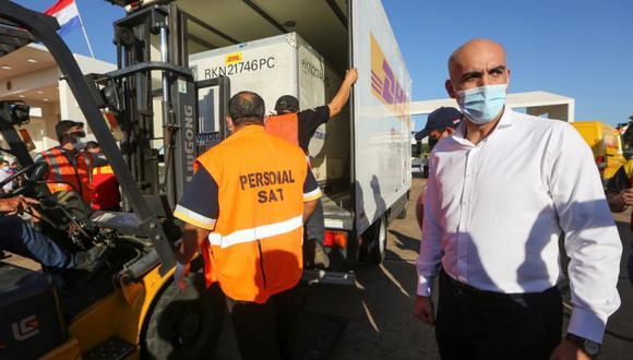 El ministro de Salud de Paraguay, Julio Mazzolen (derecho), se encuentra cerca mientras un contenedor con dosis de la vacuna rusa Sputnik V contra la enfermedad del coronavirus (COVID-19) se carga en un camión, en el aeropuerto de Luque, Paraguay. (Foto: REUTERS / Cesar Olmedo).