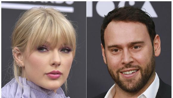 Taylor Swift y Scooter Braun. (Foto: Agencia).