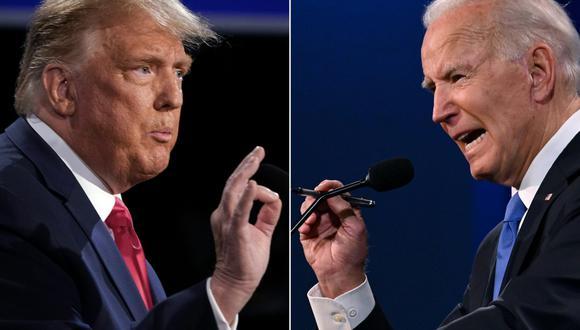 Joe Biden y Donald Trump debatieron el jueves en Nashville durante 90 minutos.  (AFP / Brendan Smialowski y JIM WATSON).