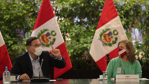 Presidente Martín Vizcarra en reunión con María Isabel León, de Confiep. (Foto: Presidencia)