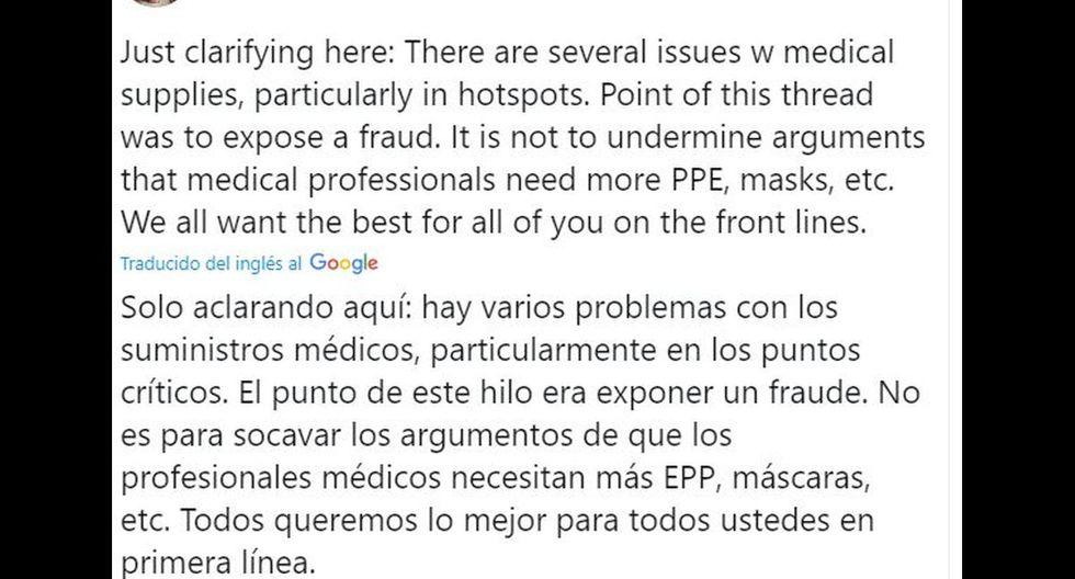 Jordan Schachtel aclaró que es muy probable que falten cuestiones técnicas en los hospitales que luchan contra el coronavirus. Pero el caso de Vega es aislado y denunciable. (Foto: Twitter)