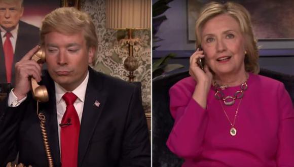 Jimmy Fallon imita a Donald Trump y habla con Hillary Clinton