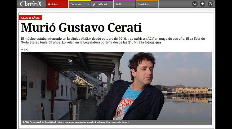 Murió Gustavo Cerati: así informó la prensa argentina - 3