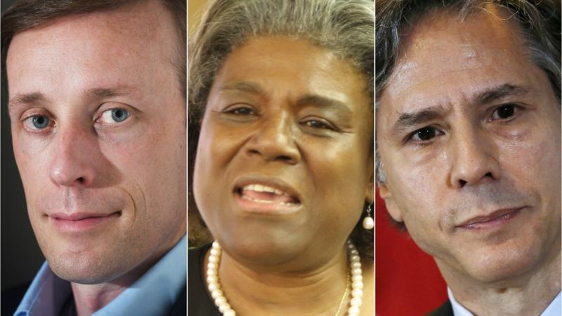 Jake Sullivan, Linda Thomas-Greenfield y Antony Blinken figuran en el nuevo equipo de Biden. (Getty Images / Reuters).