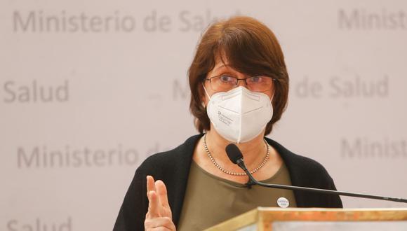 La titular del Minsa exhortó a que el tema de incremento de precios para el llenado de balones de oxígeno sea motivo para fortalecer la fiscalización y que los ciudadanos denuncien este hecho. Foto: Andina